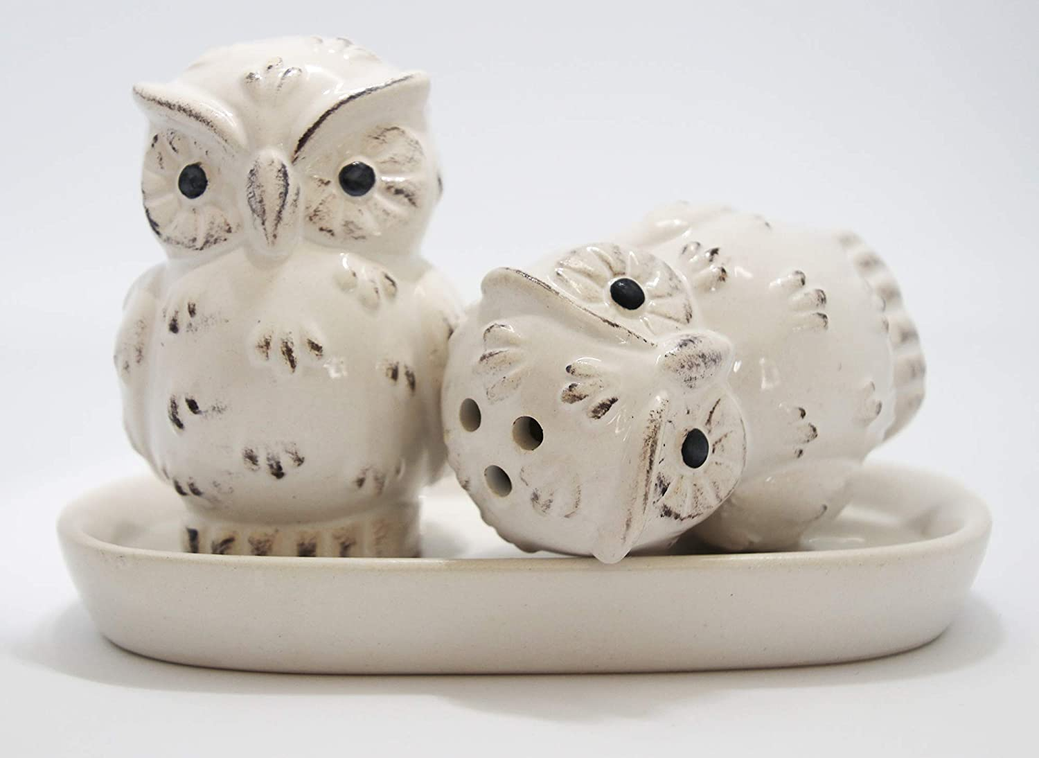 Salt Pepper 3 Piece Owl And Shaker With Tray Brown Wedding Favours Bird Theme House Warming Boxed Set Perfect For Gifts Great Collectors Restaurant Kitchen Decor