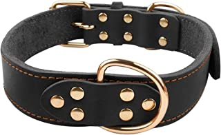 Beirui Dog Collar Leather - Soft Genuine Latigo Leather Made - Best Choice Daily Walking Sports Training