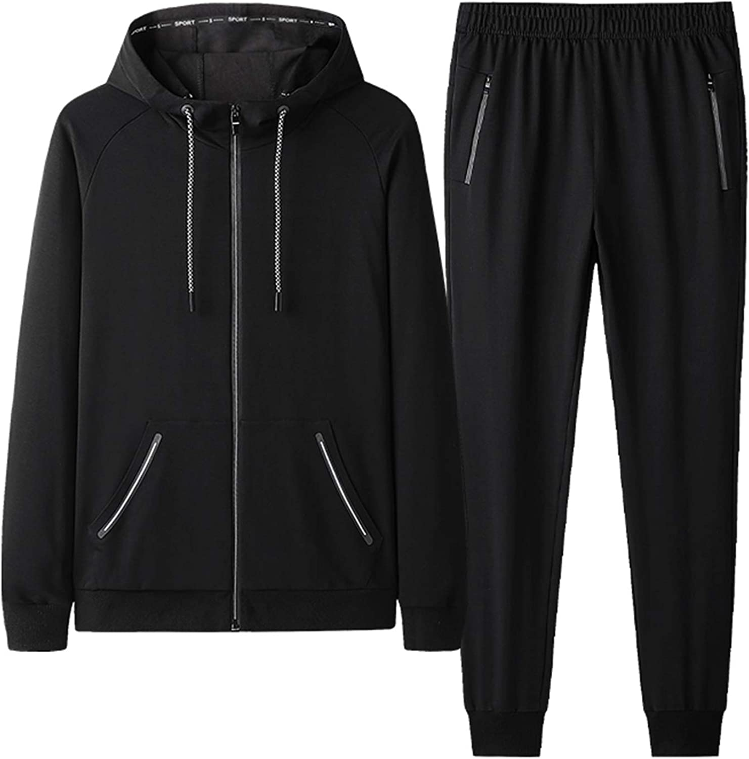 DOSLAVIDA Men's Athletic Tracksuit Casual 2 Piece Running Jogging Track Suit Sets Long Sleeve Full Zip Hooded Sweatsuits