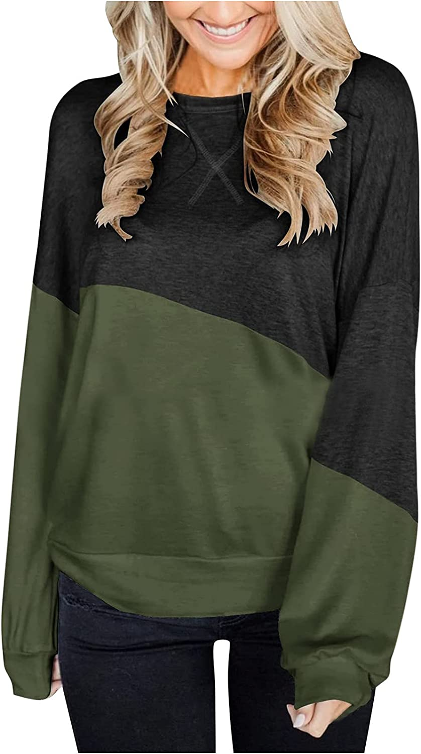 Womens Tops Stitching Contrast Color Long Sleeve Crewneck Loose Casual Tunics Blouses Simple Fashion Pullover