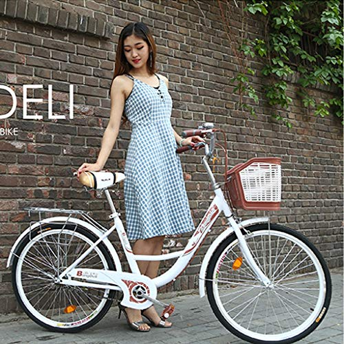 ?US Stock? Womens Beach Cruiser Bike-26 Inch Unisex Classic Iron Bicycle with Basket Retro Bicycle Unique Art Deco Scooter,Road Bike,Seaside Travel Bicycle,Single Speed (White)