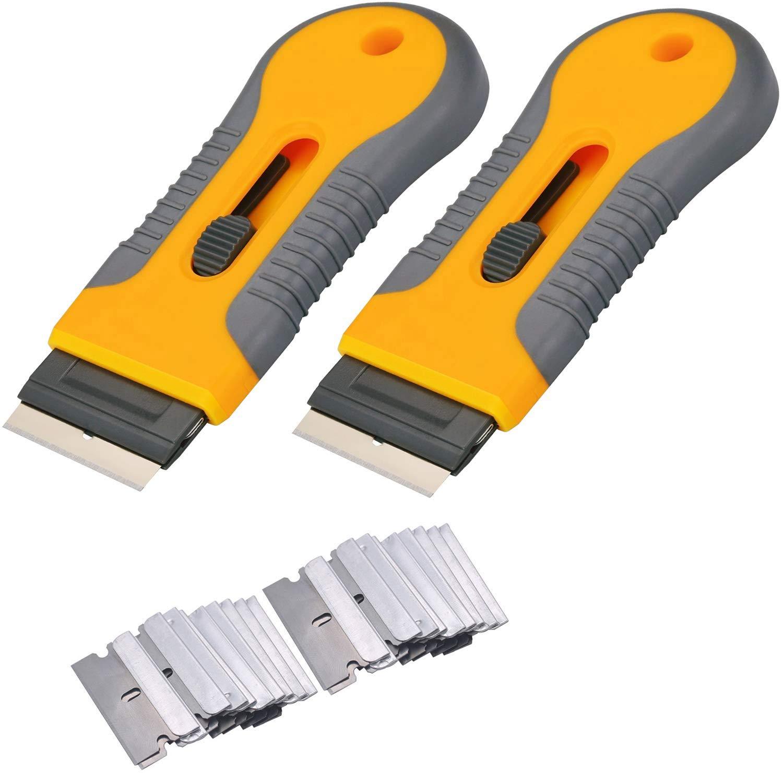 3 Set Black Razor Scraper w// 20 x Blade for Car Film Glue Paint Sticker Removal