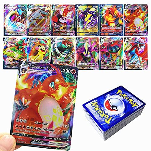 RULY Cartes Pokemon GX V Vmax, Cartes à Collectionner Pokémon, Jeu de Cartes de Bataille interactif, Cadeau enfant-60Pcs (18 VMAX-Carte+42 V-Carte)