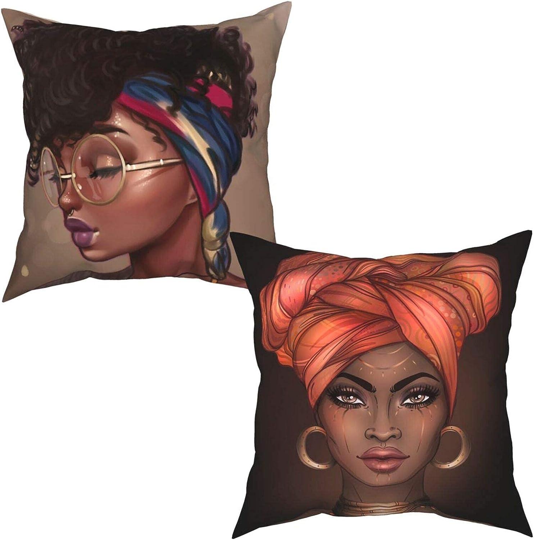 PMHGJDSVFSD African depot American Black Girl o Throw Over item handling Cover Set Pillow