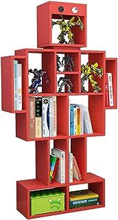 BIAOYU Bibliothèque colorée - Étagère de rangement pour chambre à coucher, maison et bureau - Couleur : rouge