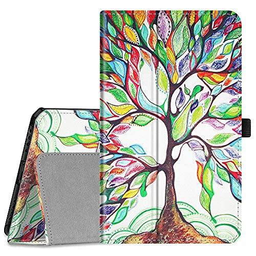 Funda tipo libro para Samsung Galaxy Tab A 8.0 2019 sin S Pen Model (SM-T290 Wi-Fi, SM-T295 LTE), [Protección de esquina] Funda de piel vegana de ajuste delgado, color negro