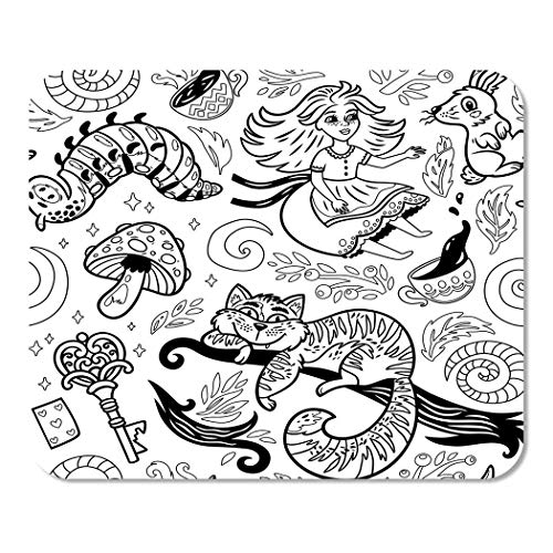 N\A Suike Mousepad Computer Notepad Office Fairytale Story Girl Cheshire Cat Rabbit Bruco e Fiori Home School Game Player Computer Worker