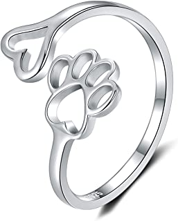 Step Forward 925 Sterling Silver Dog Paw Love Heart Adjustable Open Ring Cute Puppy and Cat Claw Ring Jewelry for Woman and Girls