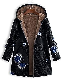 Women Plus Size Vintage Coat Winter Warm Zip Up Hooded Parka Oversized Outerwear