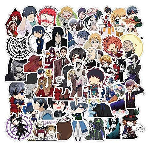 BLOUR 50 Piezas Nuevas Pegatinas de Anime de mayordomo Negro de PVC para papelería de Bricolaje, portátil, teléfono, Nevera, Guitarra, Maleta, Bonita Pegatina Impermeable de Dibujos Animados