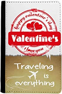 Postmark Valentine's Day Heart Traveling quato Passport Holder Travel Wallet Cover Case Card Purse