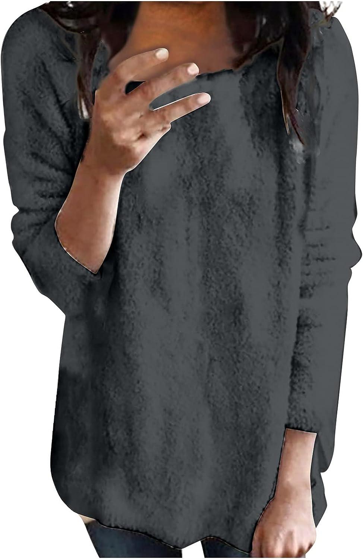 Women's Fleece Crew Neck Sweatshirt Plus Size Autumn Classic Solid Color Warm Pullover Tops Sporrtwear