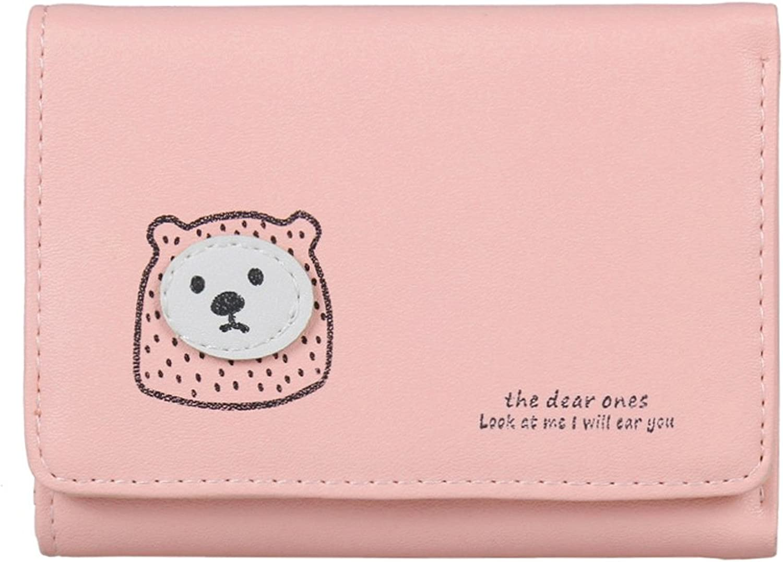 Damara Womens Cute Bear Applique Simple Trifold Wallet,Light Pink