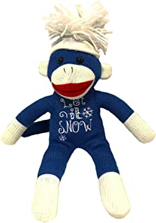Sock Monkey Plush by ColorBoxCrate 12 inch Classic Blue Sock Monkey Let It Snow Snowflake Stitching White Sock Monkey Hands and Feet with Snowflake Pom Pom Tossle Cap - Stocking Stuffer Christmas Gift