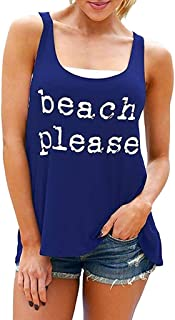 Sunmoot Clearance Sale Beach Tank Tops for Womens Casual Letter Print Vest Sleeveless Loose Crop Blouse T-Shirt