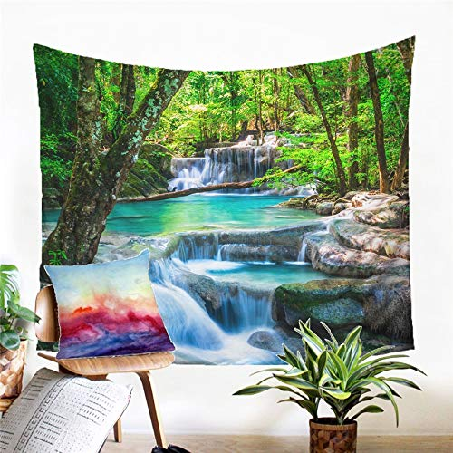 N / A Tapestry home decoration Forest Waterfall Tapestry Wall Hanging Sandy Beach Picnic Rug Camping Tent Sleeping Pad Home Decor Bedspread Sheet Wall Cloth
