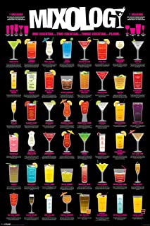 Pyramid America Mixology Cocktail Mixed Drinks Chart Laminated Dry Erase Sign Poster 12x18