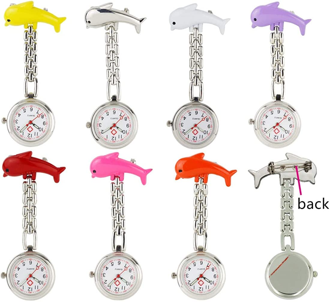 Candy Max 75% OFF Color Glow in Dark Dolphin Nurse Popularity Watch Medical Lap Clip-on