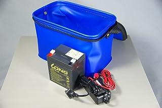 小型魚探用バッテリー&充電器セット(5Ah)EVA(ブルー)キャリーバッグ付き