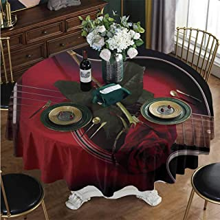 Table Cloth Round 4-6 Seats, Spanish Guitar with Love Rose Round Tablecloth Washable/Reusable for Home & Commercial Use Diameter - 31 Inch