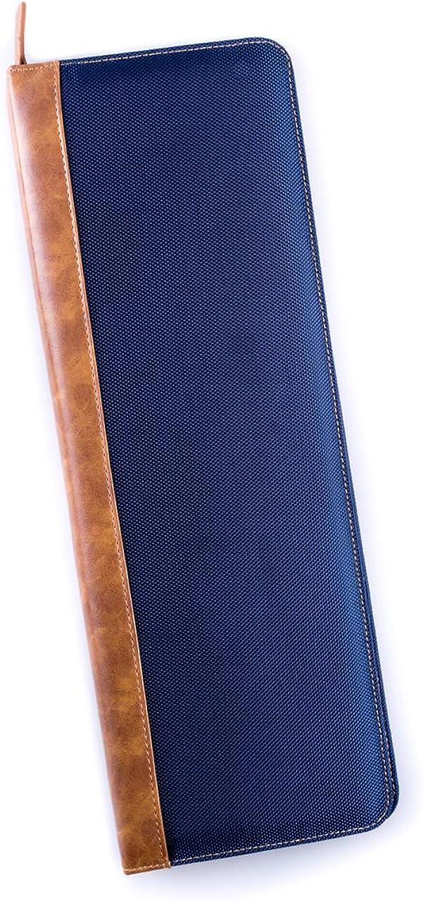 Men's Blue Ballistic Nylon Travel Necktie Tie Case Holder & Collar Stays