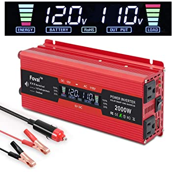 IpowerBingo Power Inverter 800W/2000W Dual AC Outlets and Dual USB Charging Ports DC 12V to 110V AC Car Converter with Digital Display