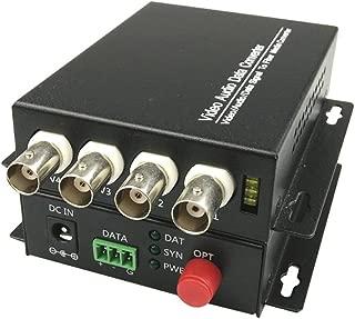 Guantai 4 Channels Video Fiber Optic Optical Converter Transmitter/Receiver,FC Singlemode Working Distance 20Km, for CCTV Surveillance Security