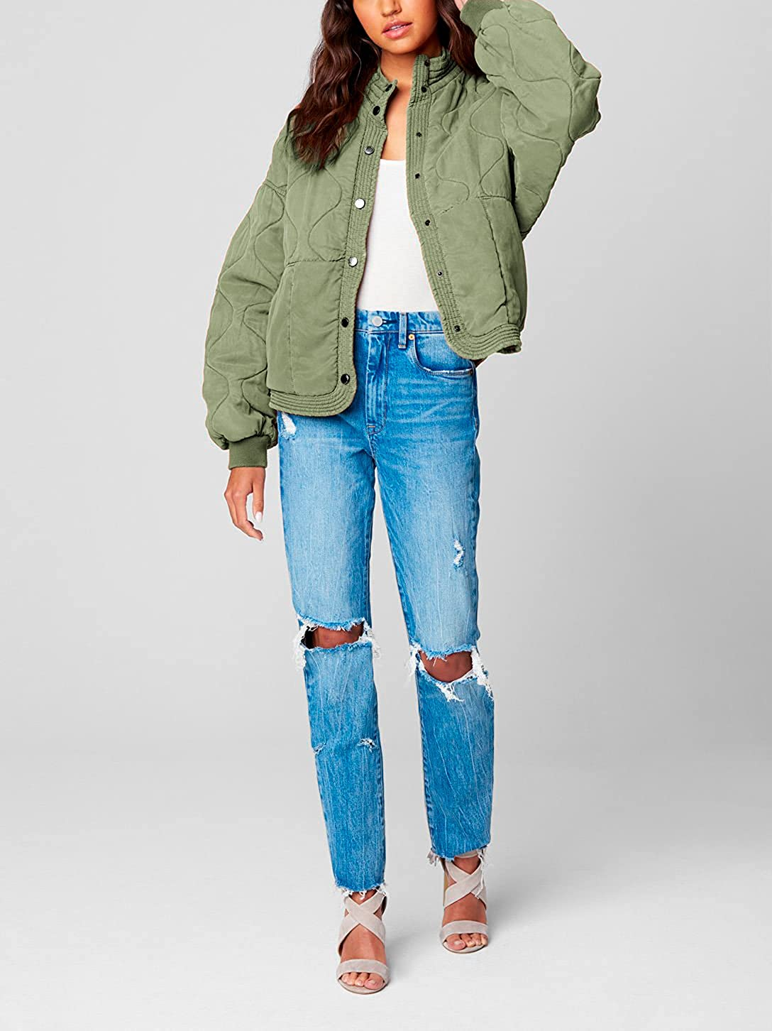 [BLANKNYC] Womens Luxury Clothing Tencel Drop Shoulder Quilted Jacket