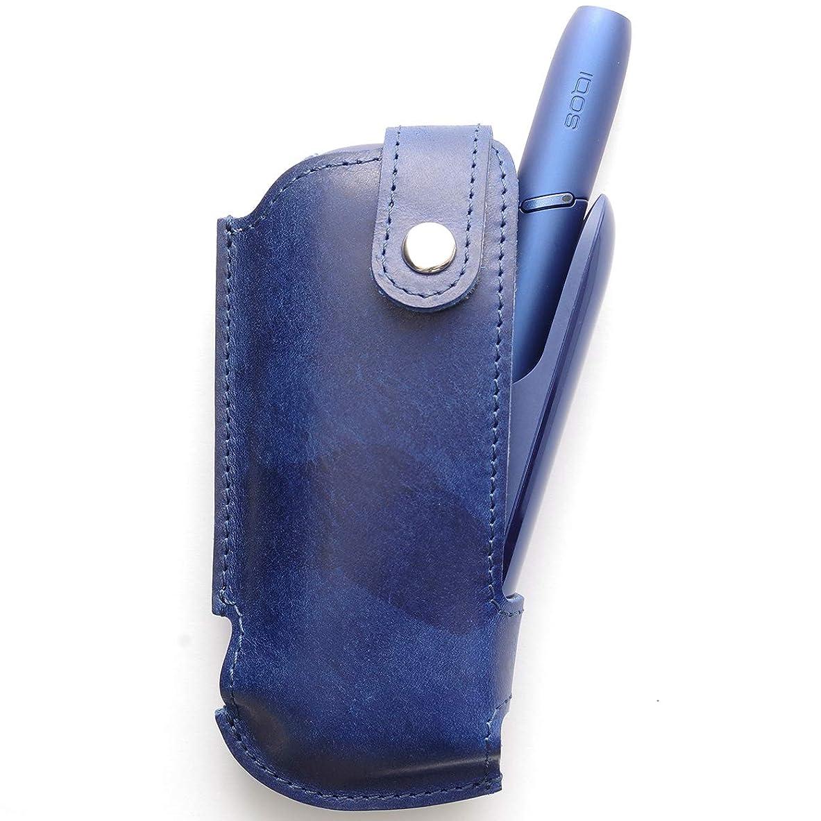 邪魔巧みなどちらもMokuMoku IQOS3 アイコス3 ケース 本革 イタリアン レザー (blue)