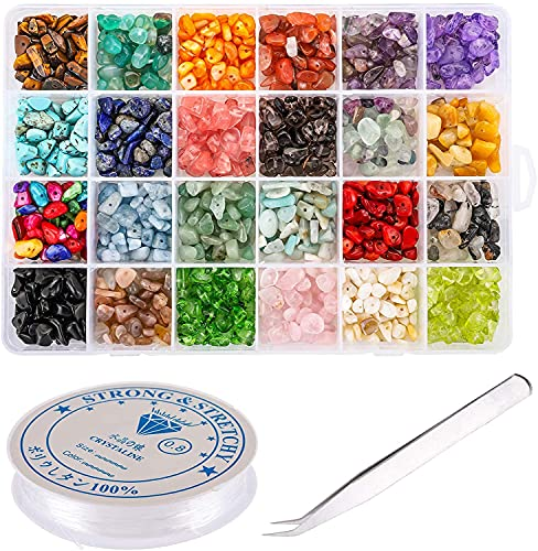Yesland 24 Farben Chip Edelsteinperlen Naturform, 1200 Stück Chunked Kristall Stein-Chips, Natürliche Edelstein Perlen für DIY Schmuckherstellung Armband, Halskette,...