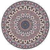 ZBBN Alfombra Redonda Vintage Alfombra Redonda Tradicional con Estampado Floral en Estilo Mandala Bohemio Diseño de Marruecos Alfombra de salón Alfombra de Pelo Corto Suave Antideslizante Rojo 12