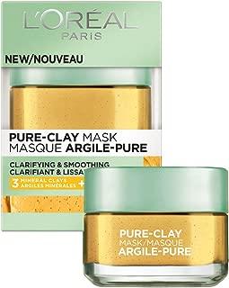 L'Oréal Paris Skincare Pure-Clay Face Mask with Yuzu Lemon for Rough Skin to Clarify & Smooth, 1.7 oz.