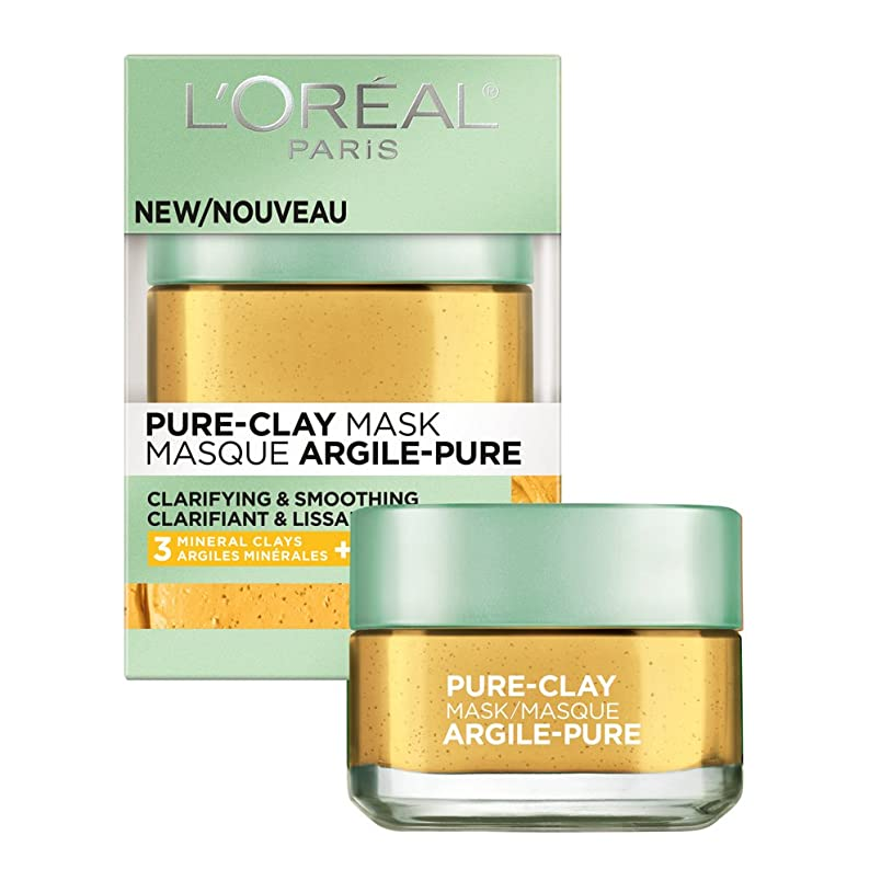 L'Oréal Paris Skincare Pure-Clay Face Mask with Yuzu Lemon for Rough Skin to Clarify & Smooth, 1.7 oz. kc158028362