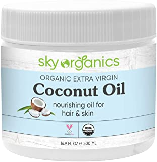Organic Extra Virgin Coconut Oil by Sky Organics (16.9 oz) USDA Organic Coconut Oil Cold-Pressed Kosher Cruelty-Free Unref...