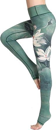 FLYCHEN Leggings Estampado Floral para Mujer Deportiva Fitness Push Up Yoga de Alta Cintura Elásticos Galaxy Star Impreso Traje de Running Galaxia Estrella