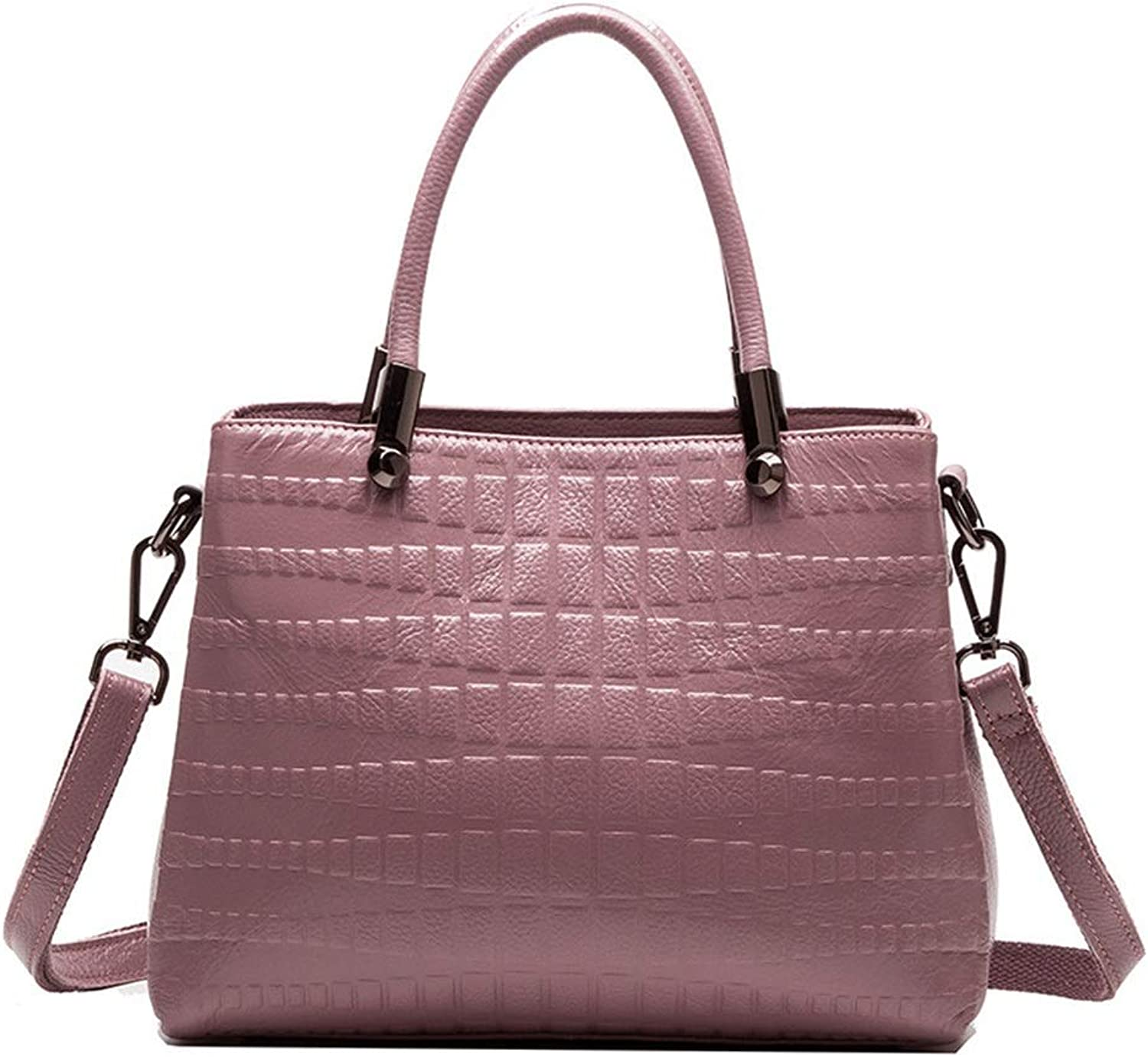 Sturdy Leather Ladies Handbags Crocodile Pattern Leather Shoulder Diagonal Package LargeCapacity Shopping Bags Large Capacity (color   Purple)