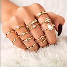 Cathercing 13 Pcs Women Rings Set Knuckle Rings Gold Bohemian Rings for Girls Vintage Gem Crystal Rings Joint Knot Ring Sets for Teens Party Daily Fesvital Jewelry Gift(style3)