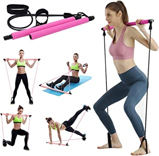 JuguHoovi Yoga Pilates Bar Kit with Resistance Band Exercise Stick Portable Pilates Barre Equipment Pilates Stick Muscle T...