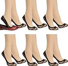 Anne Klein (6 Pack) Cute No Show Liner Socks Floral Lace Footie Socks Women Low Cut Ladies Socks