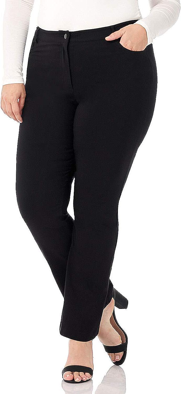 Rekucci Curvy Woman Plus Size 5 Pocket Straight Leg Pant w/Zipper
