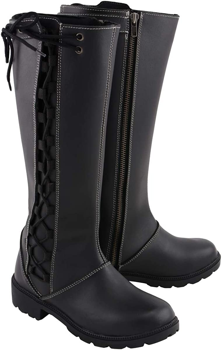 Milwaukee Leather MBL9370 Women's 17 Black Inch Max Tulsa Mall 74% OFF Boots Lace Side