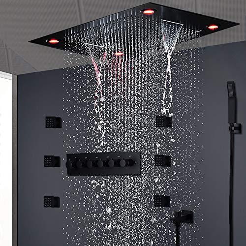 SISHUINIANHUA Moderne Matt Black Dusche Set Verdeckte Decken Massage Große Regen Wasserfall Duschpaneel Kopf Thermostat High Flow Dusche
