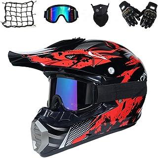 Motocross Helm Set mit Brille Handschuhe Maske Motorrad Netz, Schwarz und Rot, Unisex Adult Off Road Helm Kit Crosshelme Motorradhelm Schutzhelm ATV Helm für Männer Damen Sicherheit Schutz
