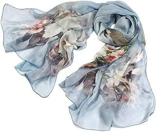 WJTWJSD Silkworm Silk High-Grade Silk Scarf Female Sunscreen Silk Scarf Shawl Scarves (Color : Blue)