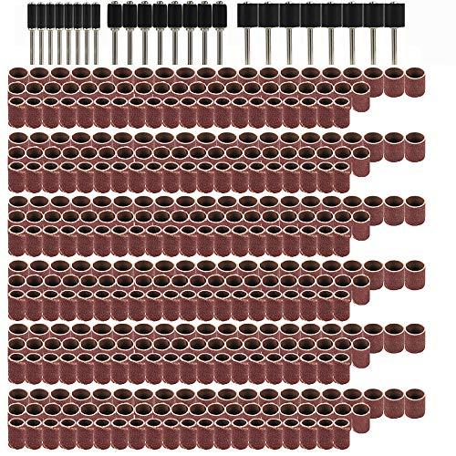 Juego de 384 lijadoras de tambor, kit de tambor de lijado, incluye 360 piezas de bandas de lijado de uñas y 24 mandriles de tambor con caja para herramienta rotativa Dremel