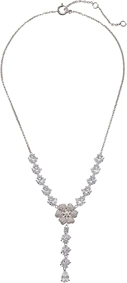 Pave/Pearl Flower Y-Necklace