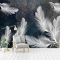 カスタム3D壁画壁紙美しい白い羽抽象芸術壁画研究室寝室リビングルーム装飾壁紙,300(W)×210(H)Cm