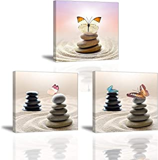 Butterfly Wall Art for Bedroom Hallway, SZ Beautiful Stones and Sand Picture Decor, Zen Meditation Canvas Prints, Bracket Mounted Ready to Hang, 1