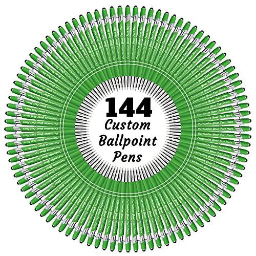 Bolígrafos personalizados a granel, personalizados, grabados personalizados, con nombre o texto, ideal para aniversario, cumpleaños o graduación (144 unidades, tinta negra)