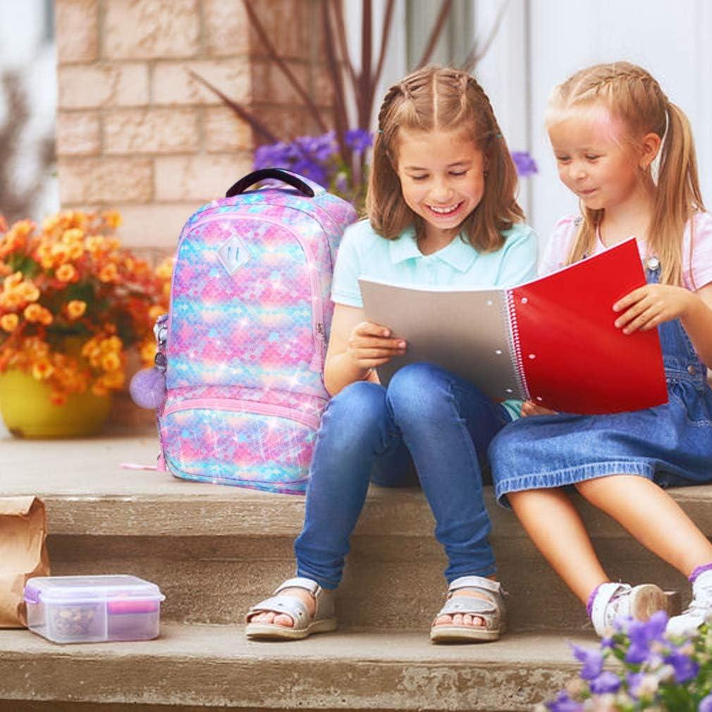 School Backpack for Girls 3 IN 1 Cute Lightweight Bookbag Set for Preschool Kindergarten Elementary Kids